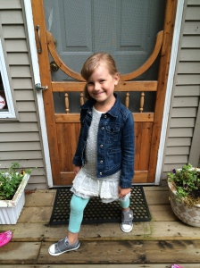 Emma 4 years old on her first day of school Sept 3' 2014